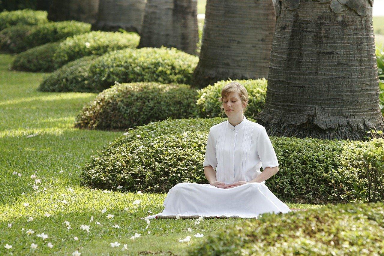 budista, meditación, mujer